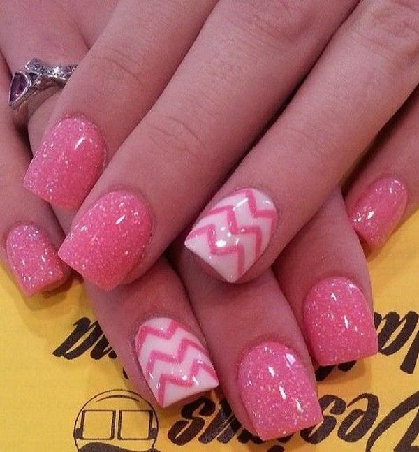 Sparkly Pink Chevron Nails.