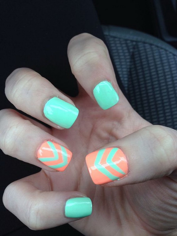 Turquoise & Coral Chevron Patterned Nail Art.