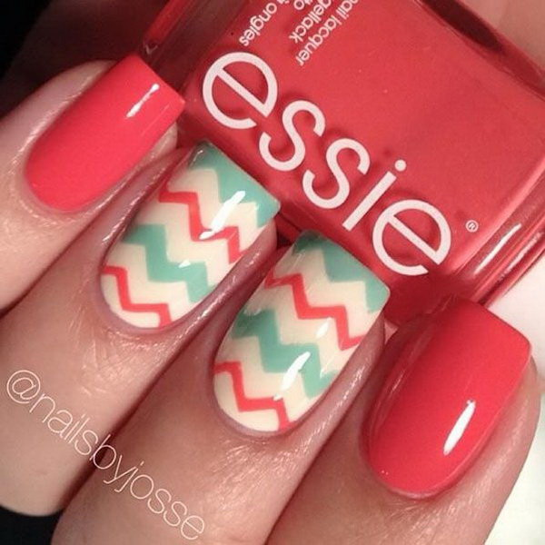 Sparkly Nails with Chevron Design.
