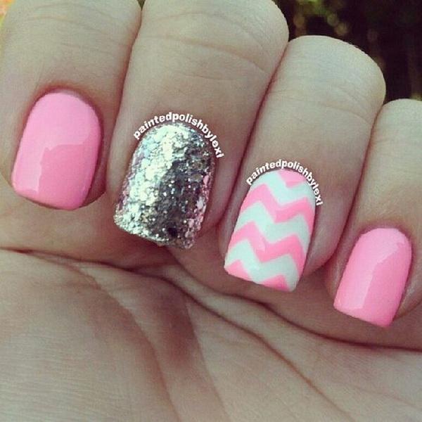Pink, Silver Chevron Nail Art Design.