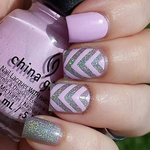 Pinky Lavender and Silver Chevron Nail Art.