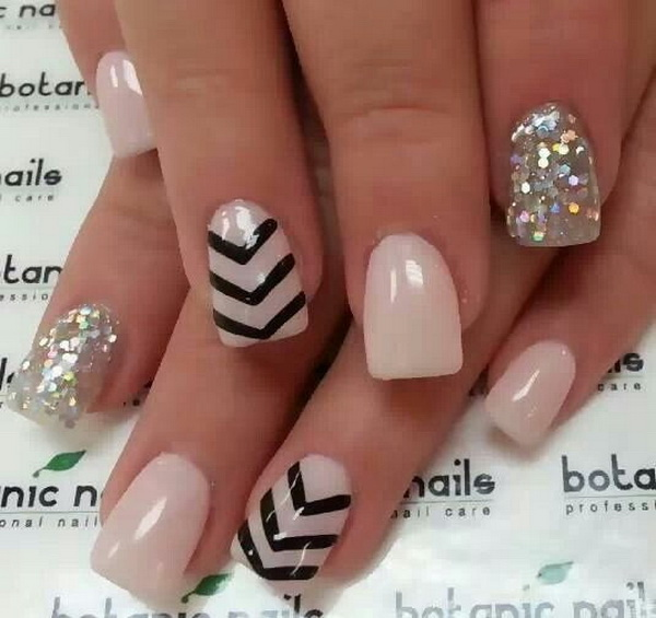 Chevron Patterns on Nude Nail Polish.
