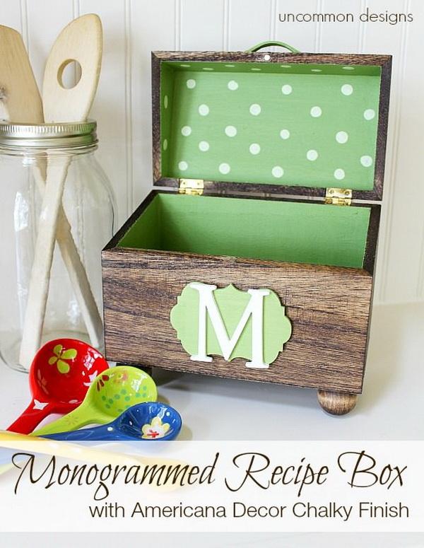 Monogrammed Recipe Box.