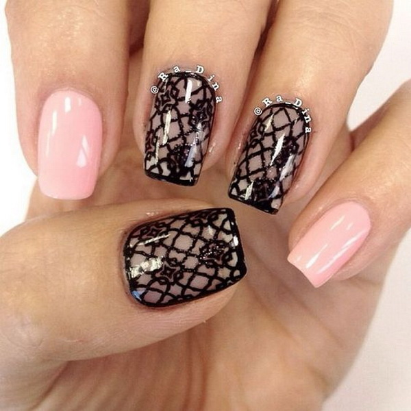 Black lace nail design. - 20 Romantic Lace Nail Designs - For Creative Juice
