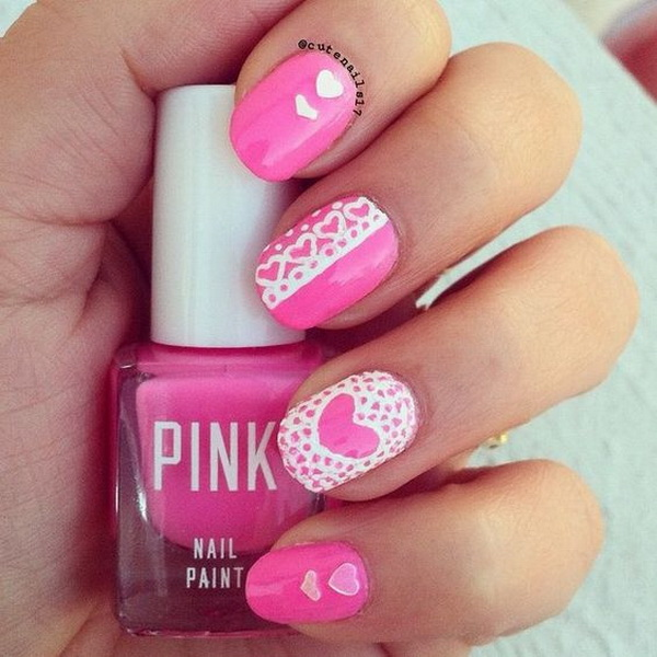 Lace heart pink valentine nail art.