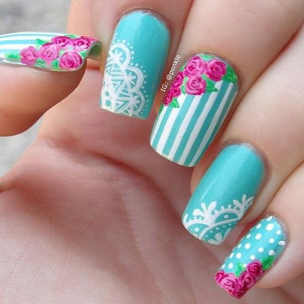 vintage rose and lace nail art.