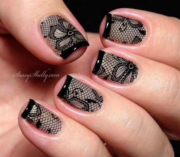 Sexy black lace nail design for hot women.