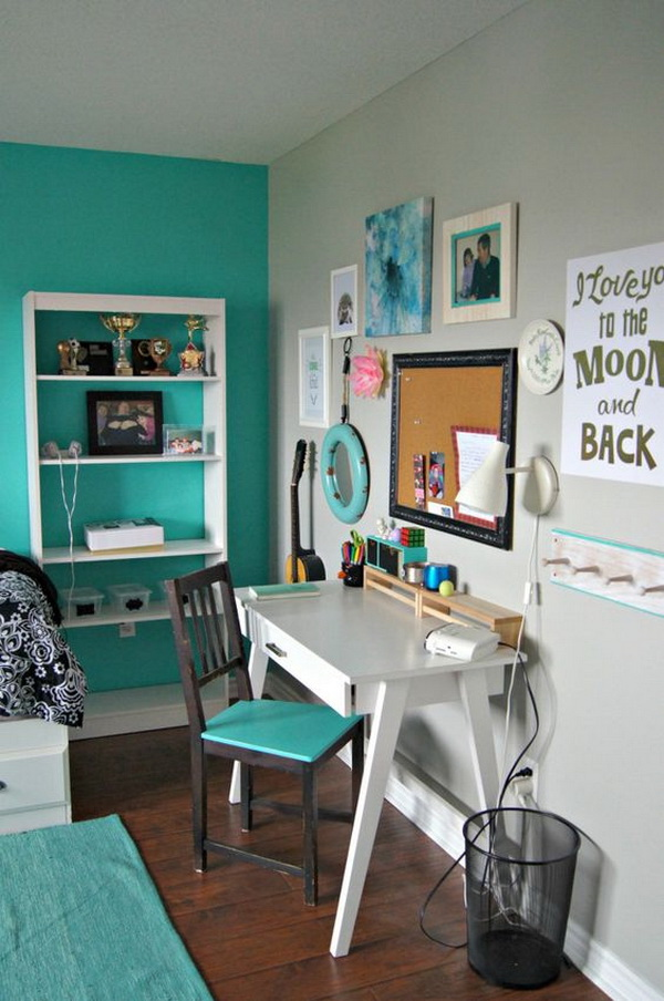 Turquoise and white bedroom for teen girls