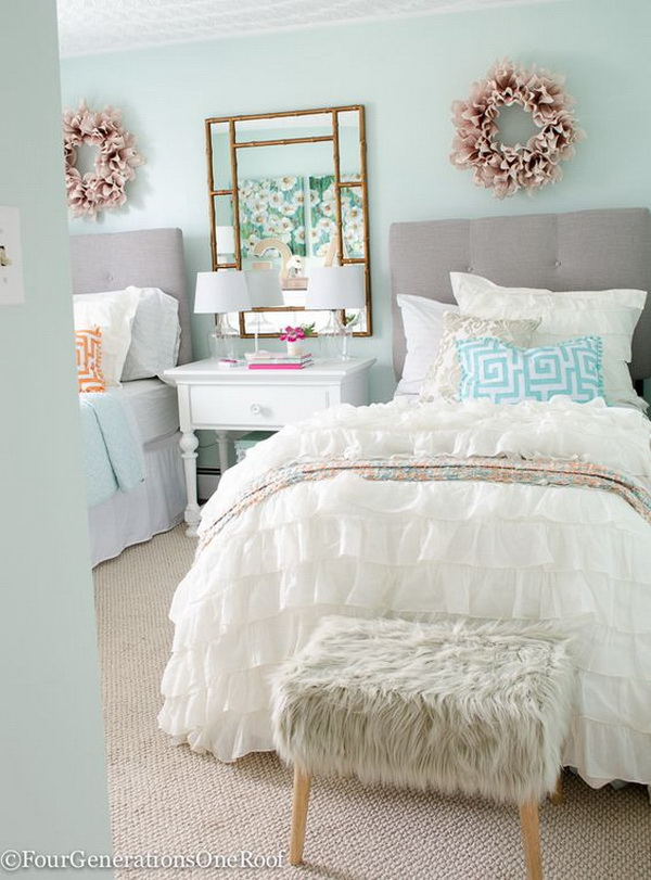 Sophisticated Teenage Girls Bedroom. Fabulous Neutral Color Palette, Light  Green Walls And A White
