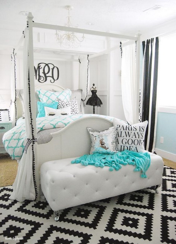 Tiffany inspired bedroom for teen girls.