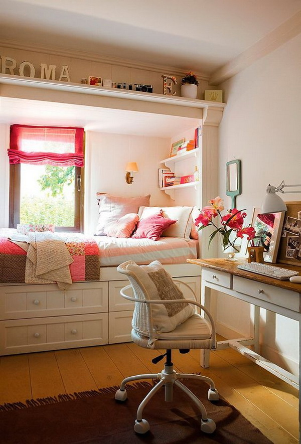 Nice room for a teenager. Small teen girls' bedroom design with style.