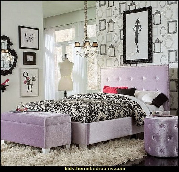 purple and black themed bedroom design for teenage girls fashionista decorating style