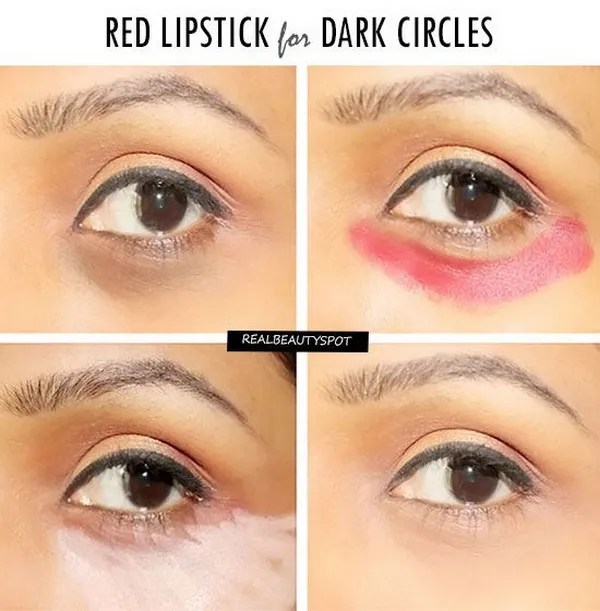 How To Cover Dark Circles With A Red lipstick: Here is a step by step procedure of hiding your dark circles with an orange lipstick or a red lipstick.