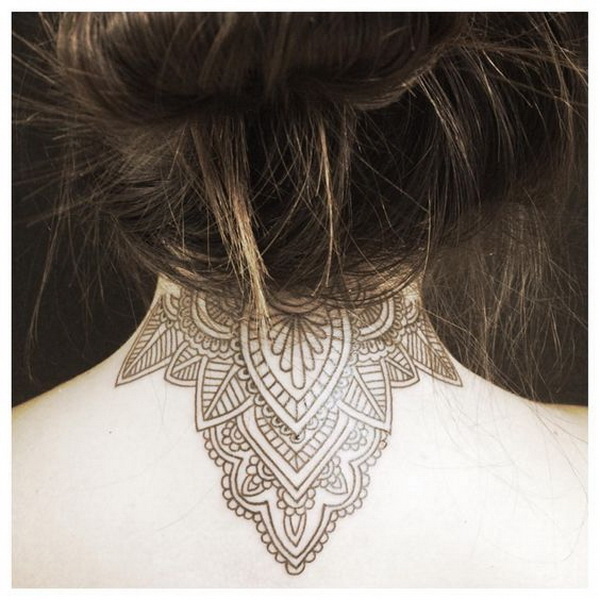 Mandala Back of Neck Tattoo.