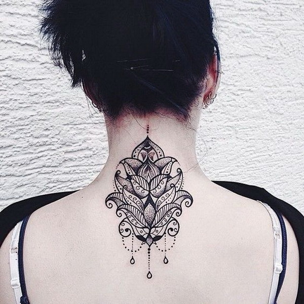 Lotus and Mandala with Embellishments Tattoo Design on Back Neck.