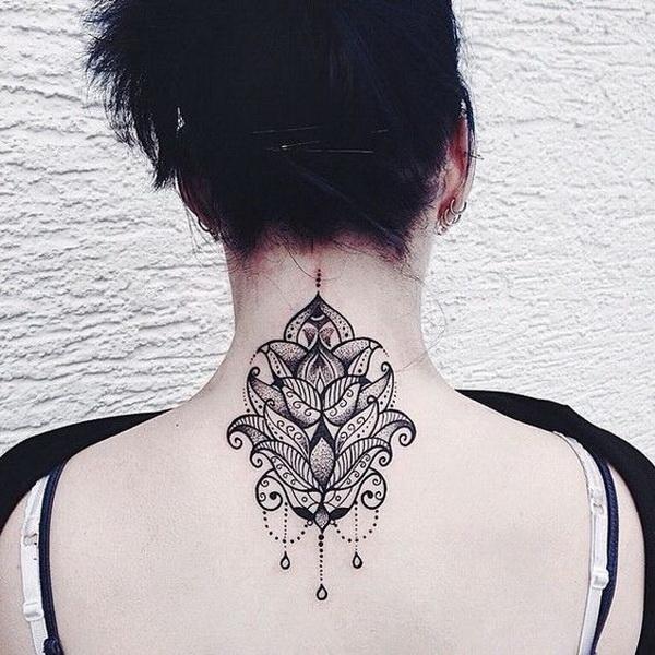 Lotus and Mandala with Embellishments Tattoo Design on Back Neck.