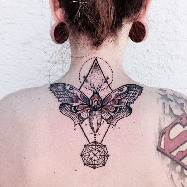 Butterfly Tattoo On Back Of Neck with Lot's of Complimentary Elements and Details.