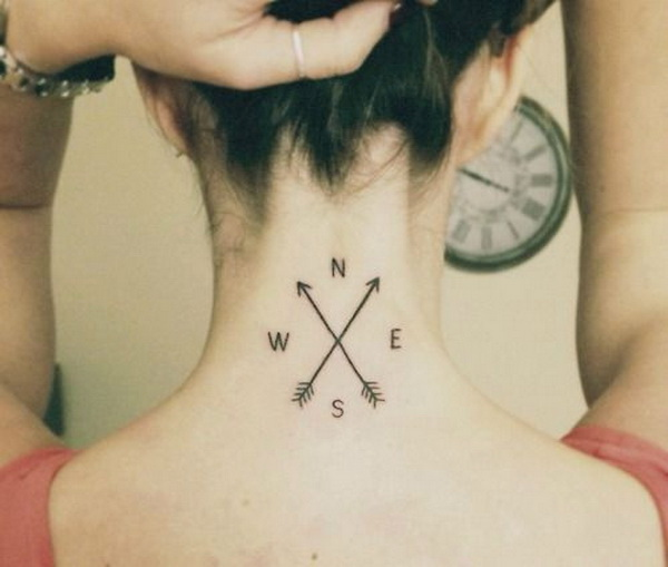 Compass Back of Neck Tattoo for Females.