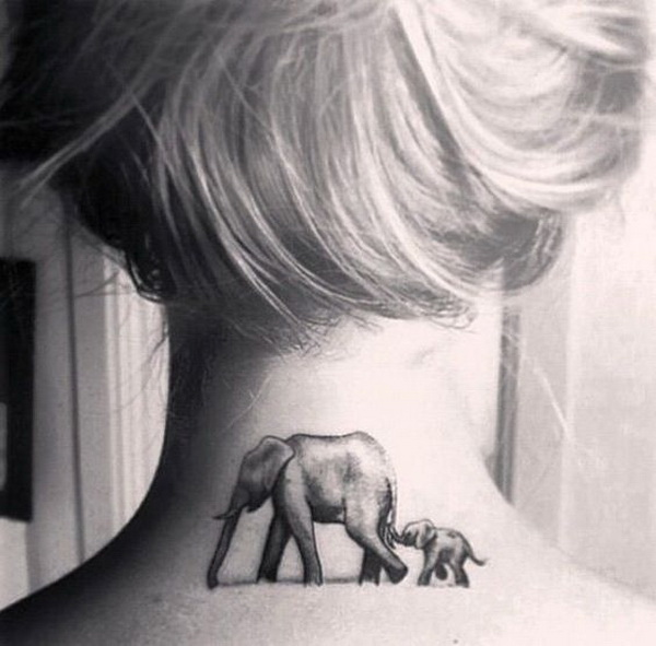 Elephant Tattoo Design on Back of Neck.