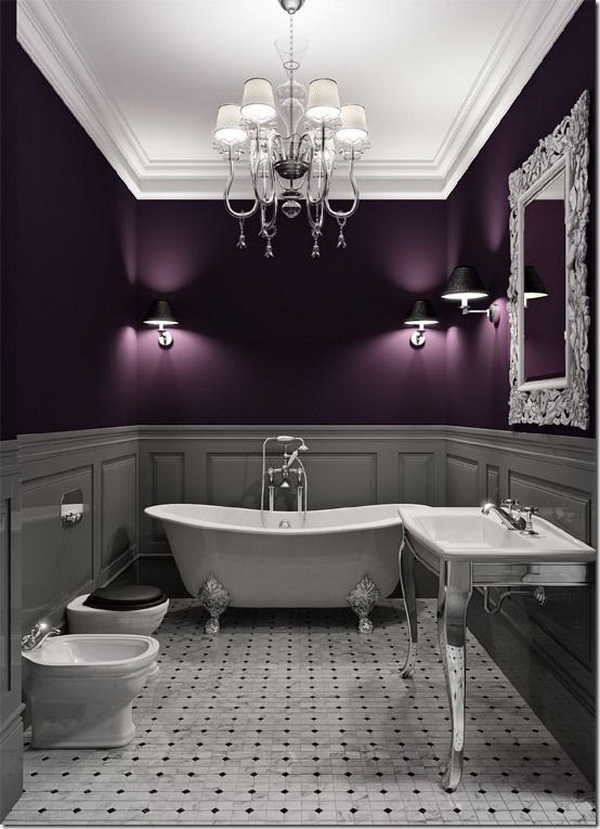 Light grey & Eggplant Bathroom Design. Elegant color scheme. So gorgeous!