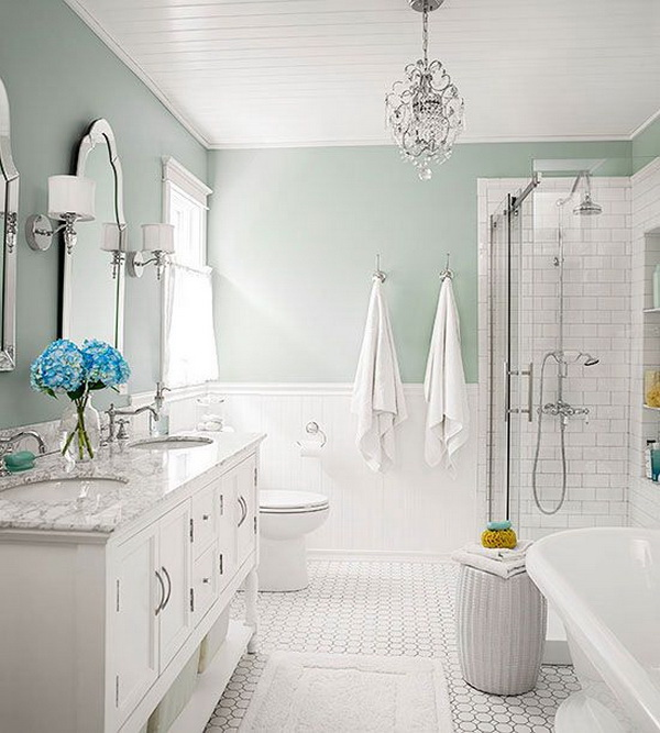 Stylish, subtle and stunning color combinations for this bathroom design: Seafoam + Cottage White + Silver.