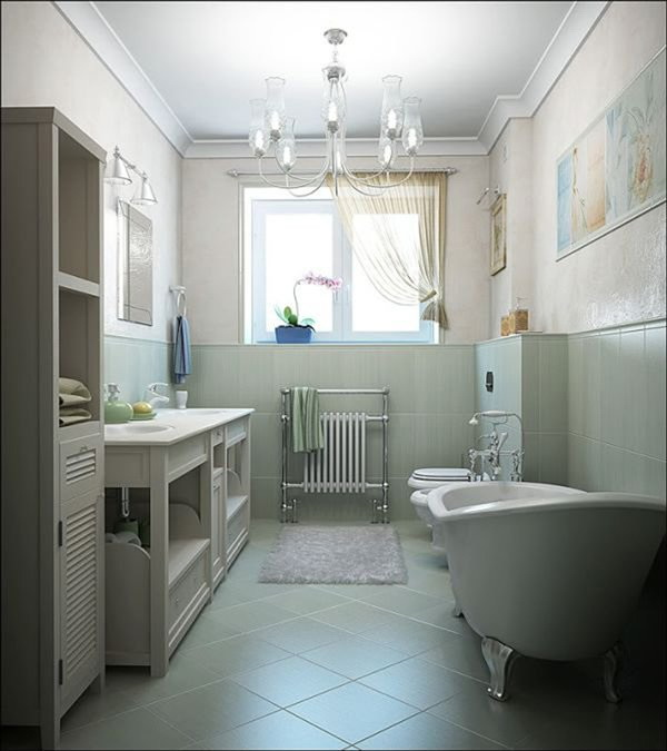 Small bathroom interior design with dusty gray tiles.