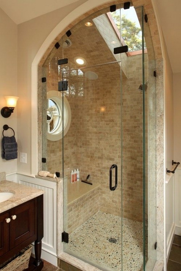 Shower with skylight in this creative and stunning bathroom.