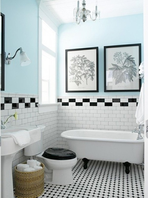 Black, white and pale blue bathroom design.