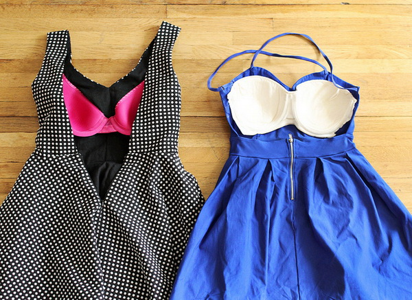 Sew the Front Half of a Cheap Strapless Bra into a Backless Dress.