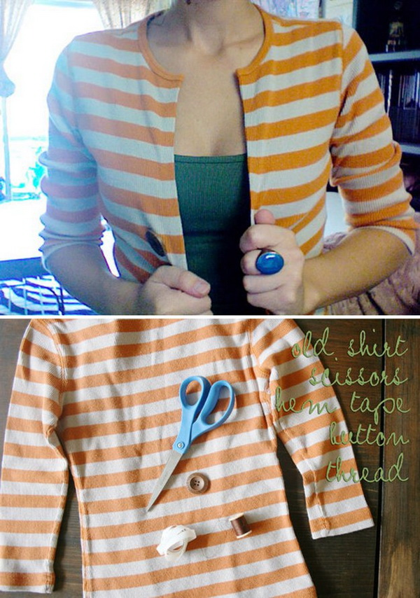 DIY No Sew Cardigan: If you have a sweater that no longer fits, don't just throw it away! Turn it into a cardigan! It is easy and quick to hack with no sewing!