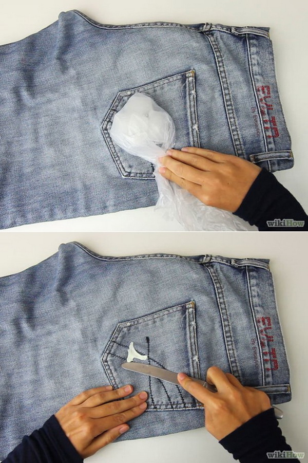 How to Remove Chewing Gum from Jeans Easily: t is so annoying to have chewing gum stuck to your favorite jeans. But don't worry, here is a creative way to remove the chewing gum from your clothes with ice cubes easily!