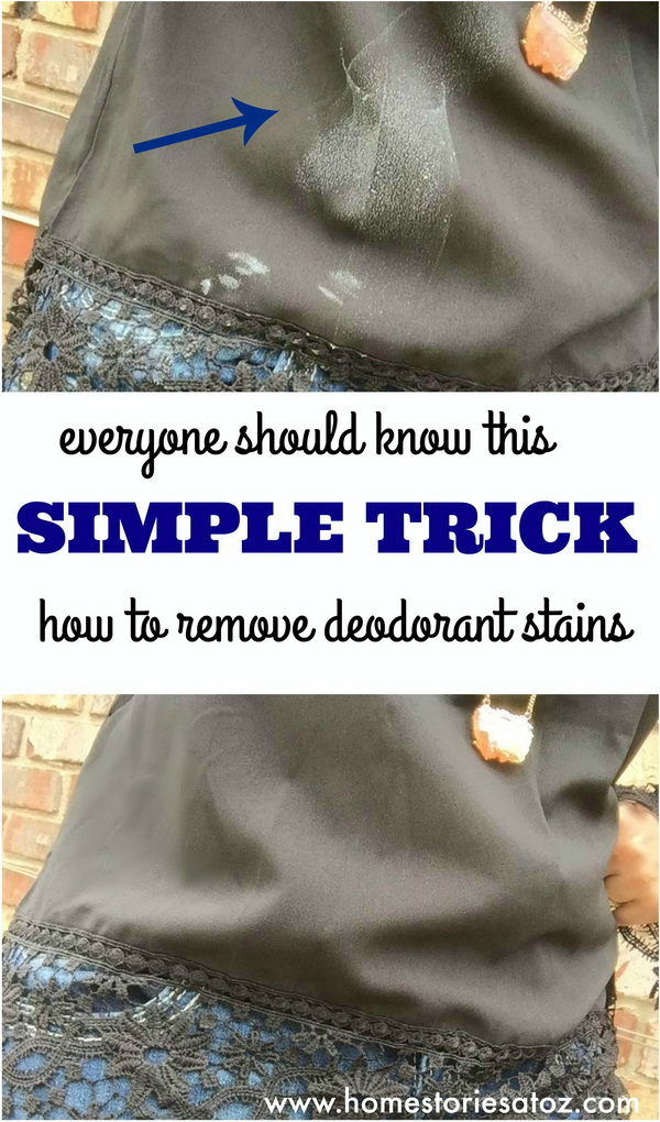 Quick Tip for How To Remove Deodorant Stains: Deodorant stains are the worst and ruin your look. Don't worry, here we have an easy deodorant removing hack to eliminate the white with just a few swipes with a piece of fabric for this easy fix!