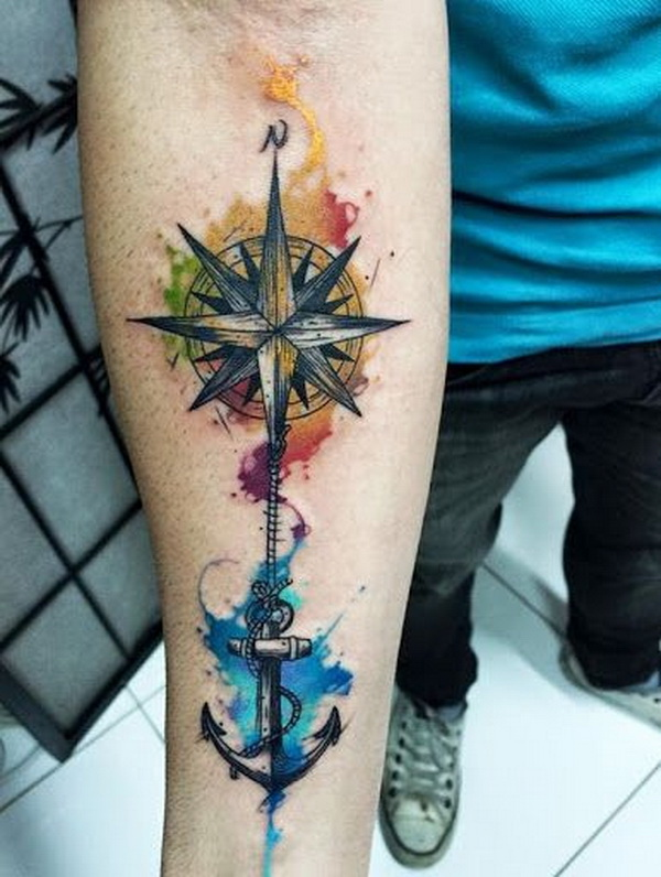 6ffdde822 Watercolor Anchor and Compass Tattoo on Inner Arm for Men
