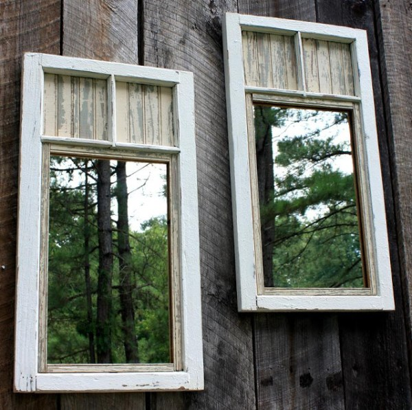 Add Mirrors to The Fence: Fashion mirrors from old windows with paint and add a kind of depth to your backyard with this project.