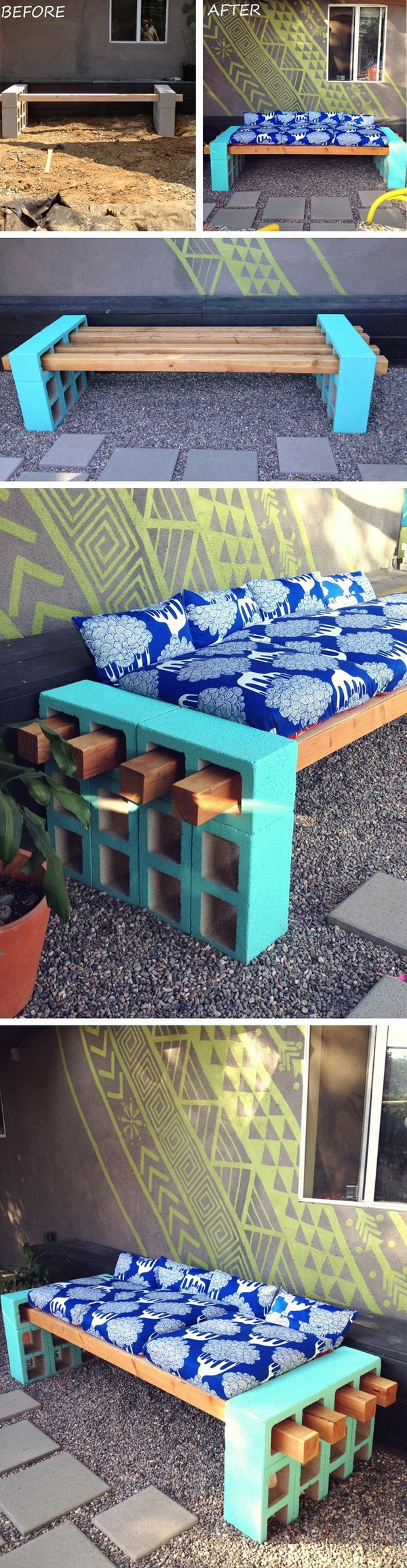 DIY Cement Block Bench: This DIY cement block bench can provide a comfortable seating for your backyard gathering!