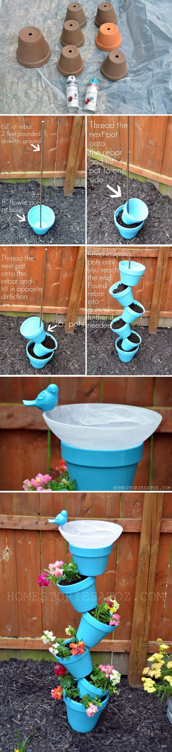 DIY Tower Garden Planter and Birds Bath: A cool planter and a nice bird bath, all in one! A great addition to your backyard!