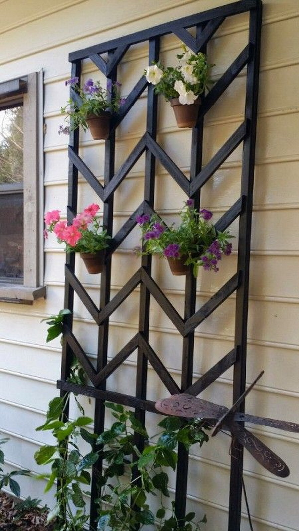 DIY Chevron Lattice Trellis Garden Holder.