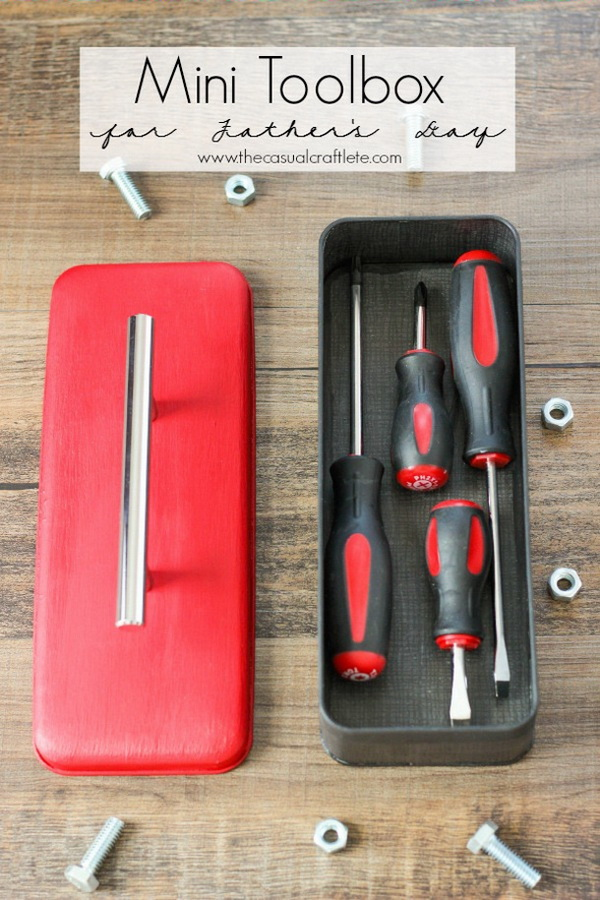 Mini Toolbox For Father's Day. Use an old candy or cookie tin to make this cutest mini toolbox for your handy dad this Father's Day! It must give him a big surprise!