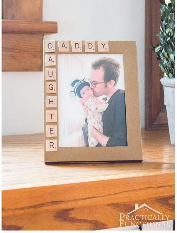 DIY Father's Day Picture Frame. Quick and easy to make and will make a big surprise for your dad!