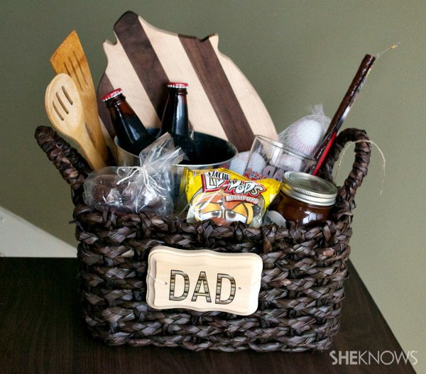 Father's Day Gift Basket. Fill a basket of men-inspired goodies for your dad. Easy and fun to make for any one!