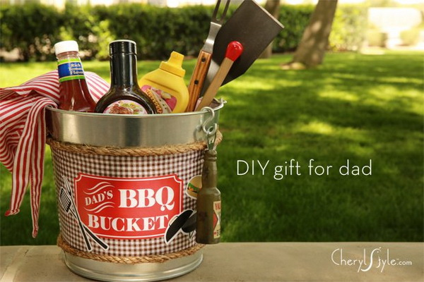 DIY Dad's BBQ Bucket Gift.