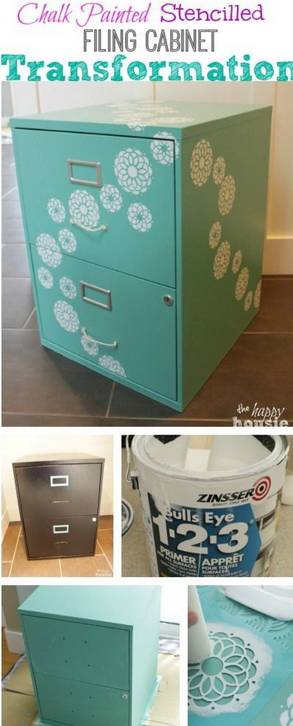 Chalk Painted Stencilled Filing Cabinet: A great way to take an old or boring filing cabinet to a whole new level using Country Chic Chalk.