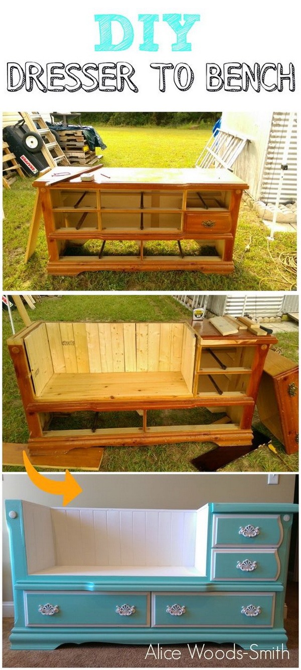 DIY Dresser To Bench: Turn an old dresser into a new stunning and functional bench with some woodworking skills and paints. It is perfect and budget friendly DIY furniture piece for your home!