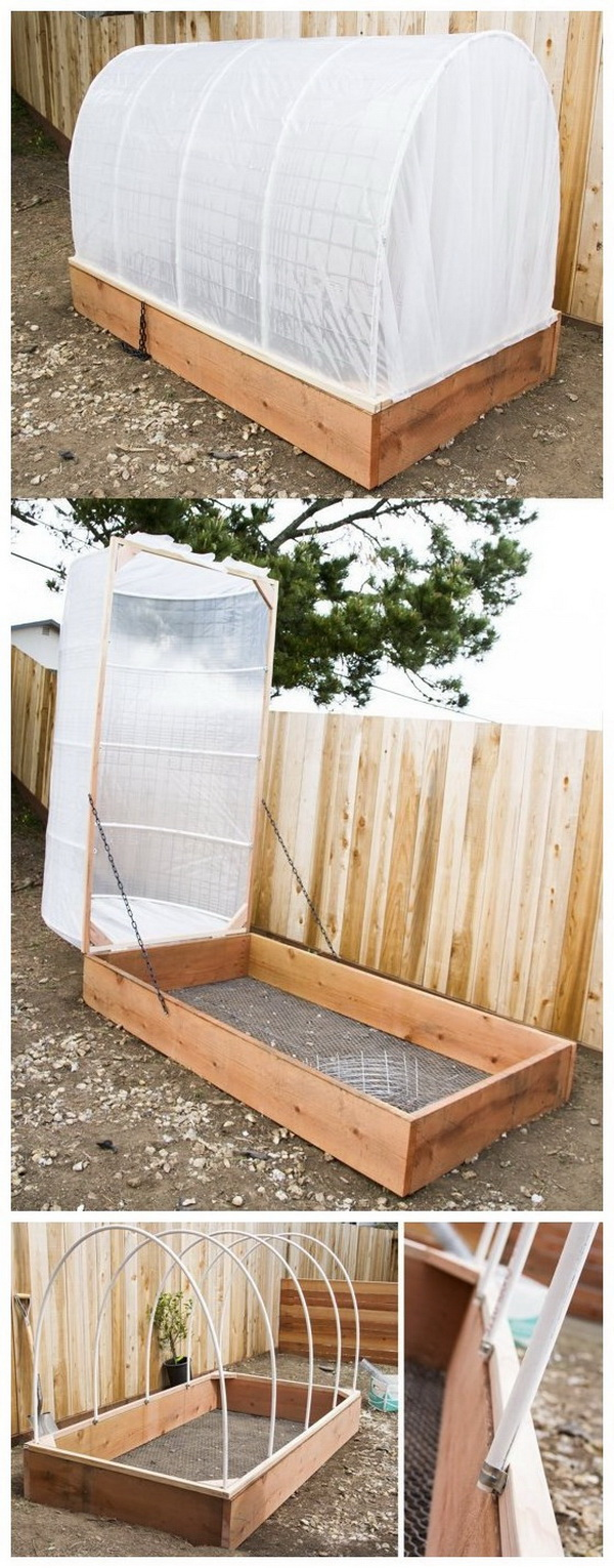 DIY Covered Greenhouse Garden Bed. Protect your plants from chilly fog, bugs and harsh winds with this removable covered greenhouse garden bed! It is really an easy DIY project!