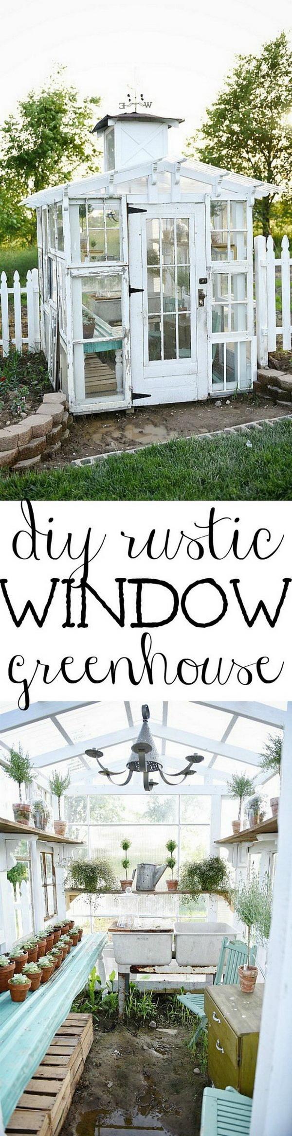 DIY Rustic Window Greenhouse.