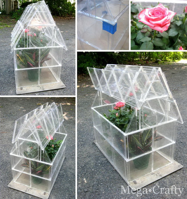 Make a green house with plastic CD cases. It is easy to open and close! So smart!