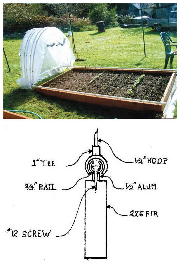 Retractable PVC Hoop House. Love the smart design of this retractable PVC hoop house! It is easy to pull all the hoops to one end of bed, exposing the entire growing area to sunlight.