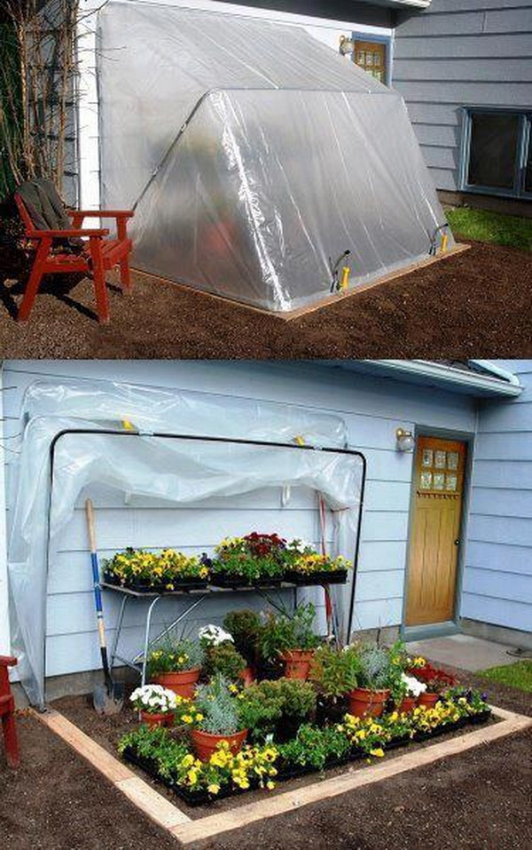 DIY Fold-Down Greenhouse. Love this great DIY greenhouse plan! It is easy to lift up the convertible green house for Sun and cover the plants at night or in cold days. With a few PVC pipes, plastic sheet, and some cutting, you will own this quick and reliable piece of protection!