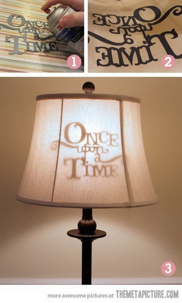 DIY Stenciled Lamp Shade: What a cute idea for kids' room or movie room decor!