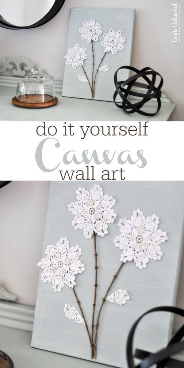 DIY Canvas Wall Art with Shabby Chic Flowers: Add a bit of shabby chic charm to your home decor with this DIY canvas wall art project. You only need a few supplies & it's simple to make!